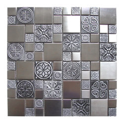 Eden Mosaic Tile - Roman Pattern Stainless Steel And Pewter Accents Tile, Sample - Inspired by the antique cobblestone streets of Europe this metal mosaic stainless steel tile features three different sizes of tile including a large square small square and medium brick but also features matte pewter resin accents that have a unique design and texture. This tile is ideal for stainless steel kitchen backsplashes, accent walls, bathroom walls, and bathroom back splashes. The tiles in this sheet are mounted on a nylon mesh which allows for an easy installation. Imported.