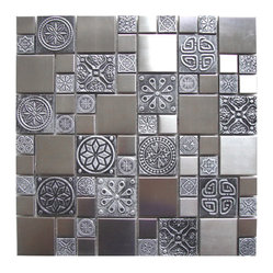 Roman Pattern Stainless Steel and Pewter Accents Tile Sample