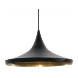 "Beat Wide Black Pendant Light - The Beat Wide Black Pendant Light is designed by Tom Dixon and made by Tom Dixon. A series of lights inspired by the sculptural simplicity of brass cooking pots and conventional water vessels on the subcontinent. The Beat lights are spun and hand-beaten by renowned skilled craftsmen of Moradabad in Northern India.The design and inception of the Beat Lights originated from a field trip to India that Tom Dixon took his Royal College students on. Their mission was to investigate how design affects the livelihood of different cultures and peoples. They spent days with local tinkerers, brass beaters and marble workers. It was there that they discovered a method of metal manufacturing that appealed to them because of its heritage and unique aesthetic. The Beat Lights employ these conventional techniques in their production. Inspired by the shapes of conventional Indian water vessels. Beat Light - Tall is a pendant made from spun brass with a hand-beaten interior. The exterior is a black painted finish. Includes black metal 4.9""D ceiling canopy. Provides direct illumination.      Product Details:  The Beat Wide Black Pendant Light is designed by Tom Dixon and made by Tom Dixon. A series of lights inspired by the sculptural simplicity of brass cooking pots and conventional water vessels on the subcontinent. The Beat lights are spun and hand-beaten by renowned skilled craftsmen of Moradabad in Northern India.The design and inception of the Beat Lights originated from a field trip to India that Tom Dixon took his Royal College students on. Their mission was to investigate how design affects the livelihood of different cultures and peoples. They spent days with local tinkerers, brass beaters and marble workers. It was there that they discovered a method of metal manufacturing that appealed to them because of its heritage and unique aesthetic. The Beat Lights employ these conventional techniques in their production. Inspired by the shapes of conventional Indian water vessels. Beat Light - Tall is a pendant made from spun brass with a hand-beaten interior. The exterior is a black painted finish. Includes black metal 4.9""D ceiling canopy. Provides direct illumination.  Details:     Manufacturer: Tom Dixon   Designer: Tom Dixon   Made in: United Kingdom   Dimensions: Diameter: 14.2"" (36 cm) X Height: 3.6"" (16 cm)   Light bulb: 1 x G9 Max 25W Frosted Halogen   Material: Beaten Brass"