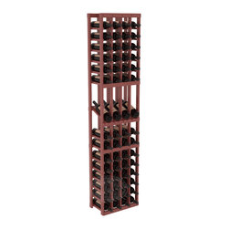 4 Column Display Row Cellar Kit in Pine with Cherry Stain + Satin Finish - Make your best vintage the focal point of your wine cellar. Four of your best bottles are presented at 30° angles on a high-reveal display. Our wine cellar kits are constructed to industry-leading standards. You'll be satisfied with the quality. We guarantee it.