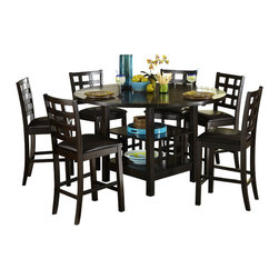 Homelegance - Homelegance Glendine Counter Height Table w/ Lazy Susan in Dark Espresso - Gathering your family and friends to enjoy a meal is a welcome opportunity to catch up and relax. The Glendine Collection will provide the perfect platform for your time honored traditions. The transitional styling and dark espresso finish make for the perfect addition to many home decors. A Lazy Susan provides the perfect platform for passing the elements of the meal and display shelving forms the base of this multi-functional table. Coordinating chairs feature a modified lattice design and feature dark brown bi-cast vinyl seating.