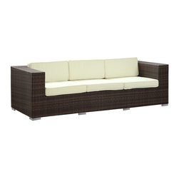 Modway - Daytona Sofa in Brown White - Conduct yourself with an air of freshness in this satisfying outdoor rattan sofa. Rejuvenate a restful repose with success and integrity as you position yourself amidst a quick, light modern design. Embark on your most important dynamics as you increase proximity to all things great.