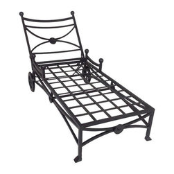 Used Kreiss Mykonos Outdoor Patio Lounge Chair - A Kreiss Mykonos style patio chaise lounge chair. The frame is aluminum and powder coated in a color called Rust, which is actually a gray. The lounge chair is new and has never been used; it will require a cushion that is not included.    Please note, the seller has six of these lounge chairs available. If you are interested in purchasing multiples, please email: support@chairish.com.