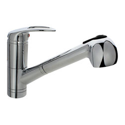 "MR Direct - Chrome Single Handle Pull Out Kitchen Faucet - The 708-C Single Handle Pull-Out Kitchen Faucet has a one or three-hole installation option and is available in a brushed nickel, oil-rubbed bronze or chrome finish. It contains a multi-function spray head with a 56"" metal hose and is ADA approved. The dimensions for the 708-C are 2"" x 7 1/2"" with an 8"" spout reach. This faucet is pressure tested to ensure proper working conditions and is covered under a lifetime warranty. The 708-C is sure to add functional style to any kitchen sink."