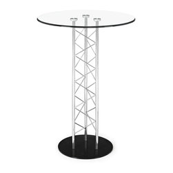 """Zuo - Chardonnay Collection Bar Table - The Chardonnay Collection bar table boasts an airy pedestal design made of a chrome steel tube frame on a matte black steel base. A tempered glass tabletop enhances its modern look. Chromed steel tube frame. Black steel base. Tempered glass tabletop. 42"""" high. 31"""" diameter.  Chromed steel tube frame.  Black steel base.  Tempered glass tabletop.  Some assembly required.  42"""" high.  31"""" diameter."""