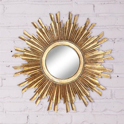 Sun Orbit Wall Mirror - Whether you place the Sun Orbit Wall Mirror in your foyer, in your bedroom, or above your mantel, this piece is sure to draw attention. Made from glass and gold-finished MDF, this unique mirror softly reflects light back into the room.
