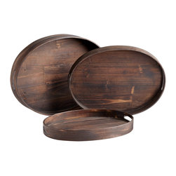 Oval Natural Wood Trays Set of 3 - *Dupre Trays