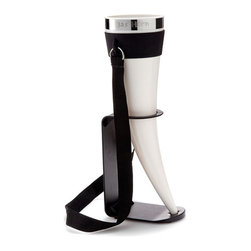 Modern Beer Horn Glass - With this drinking horn in hand, you are going to storm your next tailgate party like a viking. The horn holds a heroic 24 oz. of beverage. It not only comes with a convenient stand, for when you're busy taming the flames of an epic, but it also includes a neck strap, allowing you full, two-handed gesturing as you regale your eager listeners at your next campout or Best Man's toast. The BPA-free horn is also dishwasher safe, for when your last adventure of the day is cleanup.