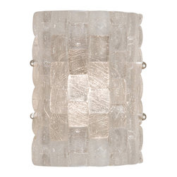 Fine Art Lamps - Constructivism Sconce, 842050ST - See your home in a very different light with this unique sconce. Pillow-shaped pieces of glass in a hand-laid cobblestone pattern create a sculpture that glows.