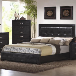 Coaster - Dylan Platform Bed (Queen) - Choose Size: QueenIncludes side rails and four wooden slats. Chest not included. Black finish. Made from wood veneers and solids. High headboard covered in tufted rich black faux leather. Low profile footboard. Contemporary style. Requires boxspring and foundation. Queen: 86 in. L x 63 in. W x 49 in. H. Eastern King: 86 in. L x 79 in. W x 49 in. H. California King: 91 in. L x 75 in. W x 49 in. H. WarrantyThis stunning contemporary upholstered bed will make a bold centerpiece in your master bedroom. Place this sophisticated contemporary bed in your bedroom for an instant style update.