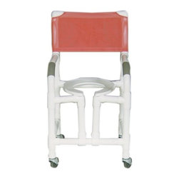 "MJM International - Standard Deluxe Shower Chair with True Vertical Open Front Frame and Optional Ac - Features: -Heavy duty true vertical open front threaded stem casters. -Fast drying mesh back. -Manufactured of healthcare grade PVC pipe and fittings. -Contoured frame, no sharp edges, to avoid skin breaks during transfers. -Reinforced at all stress related areas. -Deluxe elongated open front seat ideal for both male and female. -2 lock and 2 non lock 3"" casters for easy maneuverability and transferring. -Anti-slip safety hand grips. -Rust proof casters. Specifications: -Internal Width: 18"". -External Width: 22"". -Seat Height: 21"". -Threaded Stem Casters: 3"" x 1 1/4"". -Weight Capacity: 300 lbs. -Overall Dimensions: 40"" H x 22"" W x 18"" D."