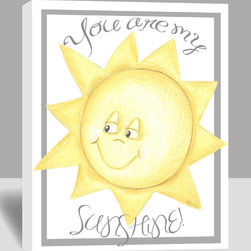"""Doodlefish - My Sunshine - A happy golden sun illustration is framed by the words """"You are my Sunshine"""" in a soft grey cursive. The 16"""" x 20"""" stretched canvas has a crisp white background. The dotted night cap and text, as well as the artwork border, are a neutral shade of grey. The canvas is gallery wrapped and ready to frame. Original artwork is by Regina Nouvel and is produced in the USA."""
