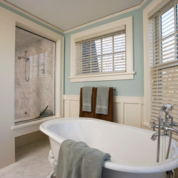 Faux Wood Blinds | Beach Style Bathroom | Blue & White | Claw Foot Tub - Classic, yet stylish: Faux Wood Blinds