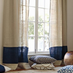 Serena & Lily - Burlap Color Block Window Panel  Navy - A wide, color rich band anchors a simple burlap panel. So simple, so effortlessly chic. The burlap fabric is pre washed for a relaxed drape.