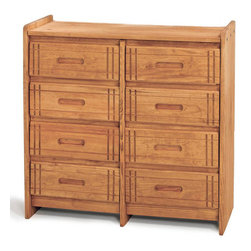 Chelsea Home - Wooden 8-Drawer Dresser - Rustic style. Hand finished stain with three step process to compliment natural wood grain. Constructed for strength and durability. Warranty: One year. Made from solid pine wood. Honey finish. Made in USA. No assembly required. 40 in. W x 17 in. D x 41 in. H (125 lbs.)