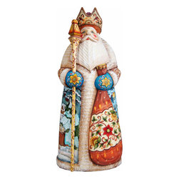 "Artistic Wood Carved Santa Claus and Snowmaiden Sculpture - Measures 10.5""H x 3.5""L x 6.75""W and weighs 3 lbs. G. DeBrekht fine art traditional, vintage style sculpted figures are delightful and imaginative. Each figurine is artistically hand painted with detailed scenes including classic Christmas art, winter wonderlands and the true meaning of Christmas, nativity art. In the spirit of giving G. DeBrekht holiday decor makes beautiful collectible Christmas and holiday gifts to share with loved ones. Every G. DeBrekht holiday decoration is an original work of art sure to be cherished as a family tradition and treasured by future generations. Some items may have slight variations of the decoration on the decor due to the hand painted nature of the product. Decorating your home for Christmas is a special time for families. With G. DeBrekht holiday home decor and decorations you can choose your style and create a true holiday gallery of art for your family to enjoy. All Masterpiece and Signature Masterpiece woodcarvings are individually hand numbered. The old world classic art details on the freehand painted sculptures include animals, nature, winter scenes, Santa Claus, nativity and more inspired by an old Russian art technique using painting mediums of watercolor, acrylic and oil combinations in the G. Debrekht unique painting style. Linden wood, which is light in color is used to carve these masterpieces. The wood varies slightly in color"