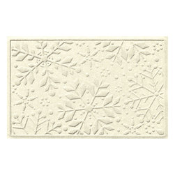 Bungalow Flooring - Aqua Shield 2'x3' Holiday Snowflake Doormat, White - Premium 24-oz. anti-static polypropylene mat traps dirt, water and mud.