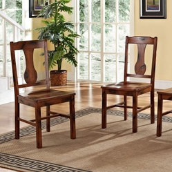 Rocky Hill 2-Piece Solid Wood Dining Chairs - Dark Oak