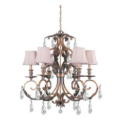 Crystorama - Crystorama 6906-FB-CL-MWP Royal Chandelier - Curves in all the right places, just a touch of crystal bling. Simple shades or not. The Royal collection is a versatile natural beauty - perfect for a t-shirt-and-jeans family room and pretty enough for an elbow-off-the-table dining room.