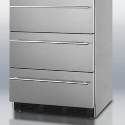 """Summit - SP6DSSTBTHIN 24"""" 5.5 cu.ft. Capacity 3 Drawer Refrigerator  Automatic Defrost  A - Modern design and advanced technology makes the SP6DS series the perfect combination of elegance and reliability in refrigeration This undercounter refrigerator features three pull-out drawers that glide smoothly for easy access At just 24 wide and f..."""