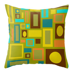 Crash Pad Designs - Mid Century Modern Pillow Modern Accent Pillow - A fun pillow can change an entire room. Style your room with this mod & playful pillow. On a sofa, a chair, or bed it's sure to make you smile. Double sided print pillow, made from 100% spun polyester poplin fabric w/ a hidden zipper closure & a polyester fill insert.Original Crash Pad Designs fabric.