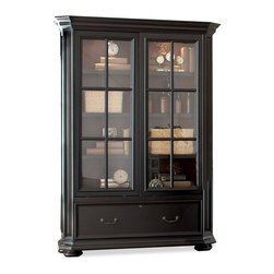 Riverside Furniture - Allegro Sliding Door Bookcase Cabinet - Two glass insert framed doors.