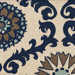 "Close to Custom Linens - 84"" Shower Curtain Rosa Indigo Blue Taupe Beige Geometric - Your shower invitation has arrived. And from the looks of it, this should be a thoroughly delightful affair. Your new shower curtain uses bold medallion motifs and rich colors to create a bit of a splash in your bathroom atmosphere."