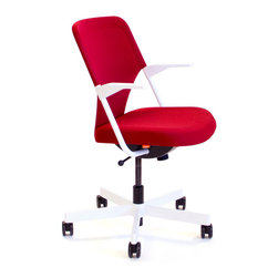 Poppin - Red 5th Avenue Chair - Designed by Poppin in New York City, this cherry red desk chair is also sublimely comfortable, thanks to soft-grip armrests, a 3-D knit backrest, and a molded polyurethane cushion. The sturdy powder-coated white steel frame and aluminum caster base won't tip, and the chair is fully adjustable, allowing you to get your work done with ease. The stain-resistant upholstery cleans right up with mild soap and warm water, and tool-free assembly means you'll be sitting pretty in no time.