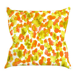 "Kess InHouse - Ebi Emporium ""Giraffe Spots - Orange"" Orange Yellow Throw Pillow (16"" x 16"") - Rest among the art you love. Transform your hang out room into a hip gallery, that's also comfortable. With this pillow you can create an environment that reflects your unique style. It's amazing what a throw pillow can do to complete a room. (Kess InHouse is not responsible for pillow fighting that may occur as the result of creative stimulation)."