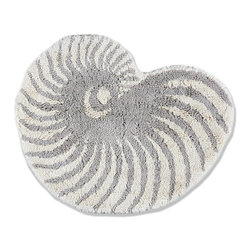 Frontgate - Nautilus Shell Bath Rug - 100% cotton. Woven to 1,700 gsm. Yarn dyed for superior color fastness. Skid-resistant latex backing. A symbol of proportional perfection, the nautilus shell is a beautiful accessory for your coastal-inspired bath. In a palette of ivory and fog, this rug is woven of  to an outstanding 1,700 gsm for utmost softness underfoot.  .  .  .  . Made in Portugal.