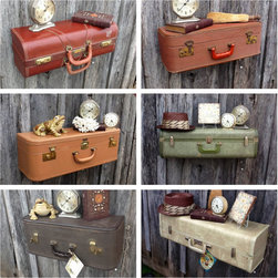 Upcycled Suitcase Luggage Wall Shelf by The Cherry Chic - Suitcases as shelves? I think yes! These are whimsical and absolutely perfect for a clock, a sculpture or a half-eaten cheese sandwich — whatever strikes your fancy.