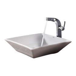 Kraus - Kraus White Square Ceramic Sink and Typhon Faucet - Add a touch of elegance to your bathroom with a ceramic sink combo from Kraus.