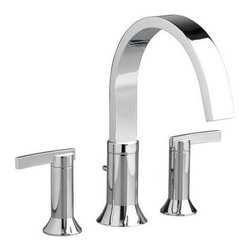 American Standard Berwick 7430.900 Roman Tub Faucet - Crisp lines give the American Standard Berwick 7430.900 Roman Tub Faucet a jaw-dropping modern look that can't be missed. Available in a number of finishes, you can be sure that this faucet will fit your decor. The pair of handles turn smoothly to give you easy control over water temperature and volume. Running at a brisk 20 gallons per minute, you can draw a soothing bath in no time. It's entirely made from brass to last for years against corrosion. Product Specifications Low Lead Compliant: Yes Eco Friendly: Yes Made in the USA Yes Handle Style: Lever Valve Type: Ceramic Disc Flow Rate (GPM): 20 Spout Height: 6.75 inches Spout Reach: 8.38 inches About American StandardIt all begins with an unmatched legacy of quality and innovation for more than 130 years. This tradition has put American Standard in three out of five homes in America, plus countless hotels, airports, and stadiums. They provide the style and performance that fit perfectly into your life, wherever that may be.