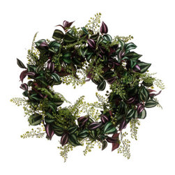 Silk Plants Direct - Silk Plants Direct Wandering Jew and Maidenhair Fern Wreath (Pack of 4) - Silk Plants Direct specializes in manufacturing, design and supply of the most life-like, premium quality artificial plants, trees, flowers, arrangements, topiaries and containers for home, office and commercial use. Our Wandering Jew and Maidenhair Fern Wreath includes the following: