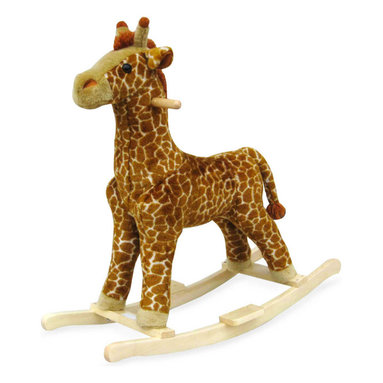 Happy Trails - Plush Giraffe Rocking Animal w Wood Frame - Giraffe rocker. Ages: 2 yrs & up. Weight Limit: 80lbs.. Seat Height: 19 in.. 30.5 in. L x 14.25 in. W x 30 in. H