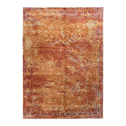 Jenny Jones Global Pumpkin Hand Knotted Rug - Rich, fiery hues of deep orange shimmer to a range of pale orange creams and even deep, rich Indian pinks in the pattern of the Jenny Jones Global rug in Pumpkin.  Gorgeously made from wool which has been hand-carded, hand-spun, and hand-tufted, the rug relies on the natural, effusive sheen of bamboo silk to lend a glamorous traditional shimmer to its small-scale botanical design.