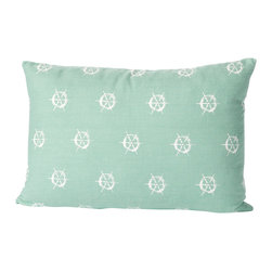 Cricket Radio - Montauk Wheels Small Pillow, Aqua/White - Style's ahoy when you add this jaunty pillow to your sofa, chair or bench. It's hand-printed using ecofriendly inks on Italian linen, comes in your choice of colors and features a removable down insert for easy cleaning. Steer your decorating in a nautical direction.
