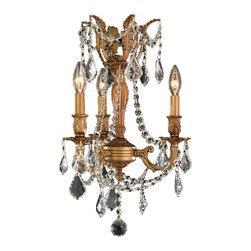 "Worldwide Lighting - Windsor 3-Light French Gold Finish & Crystal Chandelier 13"" D x 18"" H Mini Small - This stunning 3-light Cast Aluminum Chandelier only uses the best quality material and workmanship ensuring a beautiful heirloom quality piece. Featuring a solid cast aluminum frame in French Gold finish and all over clear crystal embellishments made of finely cut premium grade 30% full lead clear crystals, this chandelier will give any room sparkle and glamour. Worldwide Lighting Corporation is a privately owned manufacturer of high quality crystal chandeliers, pendants, surface mounts, sconces and custom decorative lighting products for the residential, hospitality and commercial building markets. Our high quality crystals meet all standards of perfection, possessing lead oxide of 30% that is above industry standards and can be seen in prestigious homes, hotels, restaurants, casinos, and churches across the country. Our mission is to enhance your lighting needs with exceptional quality fixtures at a reasonable price."