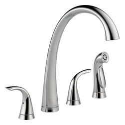 Delta - Delta Commercial 2480-DST Two Handle Widespread Kitchen Faucet With Spray - Delta 2480-DST Pilar Collection features a high arc design for graceful function  with a sleek design. The Delta 2480-DST is a two handle Kitchen Faucet With Spray in Chrome.