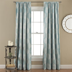 Lush Decor - Sophie Blue 84 x 52-Inch Blackout Window Panel Pair - - Energy Efficient Window Panels! Blocks the sunlight which saves energy leading to better temperature regulation of the room while enhancing your decor with these paisley pattern blackout window curtains.   - Set Includes: 2 Panels  - No Lining  - 3-Inch Rod Pocket  - Care Instructions: Machine Wash Cold, Gentle Cycle, Only Non Chlorine Bleach When Needed, Tumble Dry Low and Cool iron if needed Lush Decor - C25550P14-000