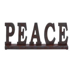 "Benzara - Wood Table Top ""Peace"" with Earthly Colors - Wood Table Top ""Peace"" with Earthly Colors. Apart from being durable in make, this is a good gifting option too. It comes with the following dimensions 18""W x 3""D x 8""H."