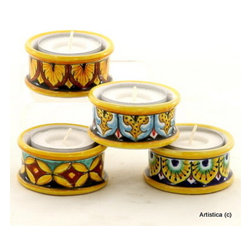 Artistica - Hand Made in Italy - TEA LIGHT: Assorted Round cylinder Deruta Tea Light holder - Price listed is for EACH Tea Light.