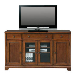 Winners Only - 19 in. TV Cabinet - Three drawers. Four doors. Americana cherry finish. 60.5 in. W x 19 in. D x 36 in. H