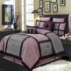 "Royal Tradition - R-T 12pc Morgan Purple Luxury Bed in a Bag- Purple/ Gray - The Morgan 12-piece comforter set offers a modern, tailored look that creates an aura of calmness in any bedroom. The bold color blocking in sage, chocolate and ivory give a strong design impact. This set includes all the pieces you need for a flawlessly decorated bed. All sheet sets are fully elasticized with 15"" deep pockets.�100% Polyester/ Machine Washable�"