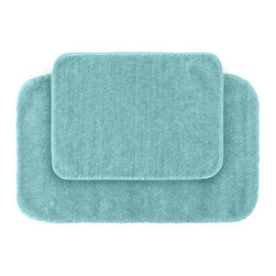 None - Plush Deluxe Caribbean Blue 2-piece Bath Rug Set - Add a note of tasteful color and relish the luxurious softness of the Plush Deluxe bathroom. These two aqua blue rugs are composed of easy to clean nylon and feature non-skid latex backing.