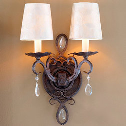 Ballard Designs - Waldorf Two Light Sconce - Elegantly refined, our Waldorf Sconce is hand crafted of gracefully scrolled steel with two ruffled candlestick arms and sparkling cut-glass crystal accents. Round cover plate features decorative oval center and scrolls echoing the teardrop crystal shapes. Hand applied mocha bronze finish. Uses two 60W max. candelabra bulbs. Hardwire only. Capiz chandelier shades not included.