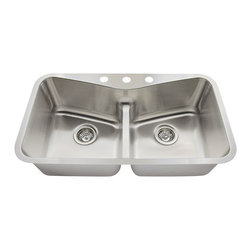 "MR Direct - Low Divide Angled Bowl Stainless Steel Kitchen Sink - The 533-18 low divide angled bowl undermount sink is constructed from 304 grade stainless steel and is available in 18 gauge thickness. The surface has a brushed satin finish to help mask small scratches that occur over time and keep your sink looking beautiful for years. The overall dimensions of the 533-18 are  and a 33"" minimum cabinet size is required. This sink contains a 3 1/2"" offset drain, is fully insulated and comes with sound dampening pads. As always, our stainless steel sinks are covered under a limited lifetime warranty for as long as you own the sink."