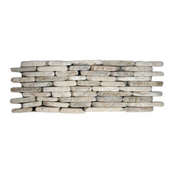 CNK Tile - Mixed Quartz Standing Mosaic Tile - Do something striking on the wall of your favorite setting with these standing mixed quartz tiles. Perfect for your backsplash, fireplace, shower stall, wherever — a noble and natural look.