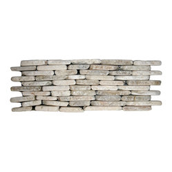 Pebble Tile Shop - Mixed Quartz Standing Mosaic Tile - Do something striking on the wall of your favorite setting with these standing mixed quartz tiles. Perfect for your backsplash, fireplace, shower stall, wherever — a noble and natural look.