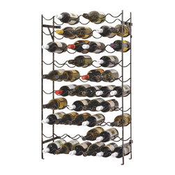 "Oenophilia - The Alexander Wine Rack - 60 Bottle - Wheather you are stocking a cellar furnishing a kitchen or making good use of a tucked away nook youll be sure to exclaim ""This rack is just right!"" Both styles fold flat for shipping and mount to the wall for stability. Wrought iron.40 Bottle- 15""w x 8""d x 39.5""h60 Bottle - 22.5""w x 8""d x 39.5""h"
